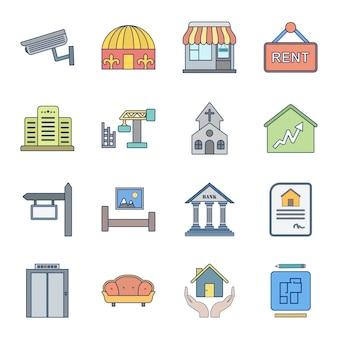 Icon set von immobilien
