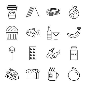 Icon-set von lebensmitteln