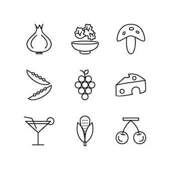 Icon set von lebensmitteln