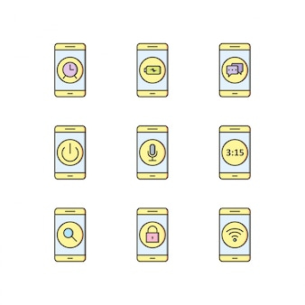 Icon set von mobilen apps
