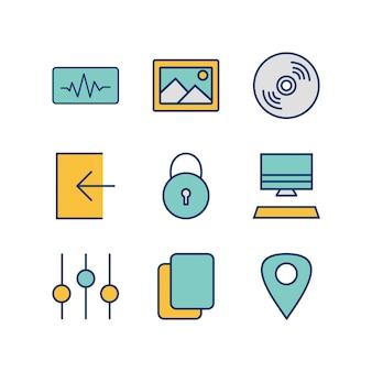 Icon-set von multimedia für den persönlichen und kommerziellen gebrauch ...