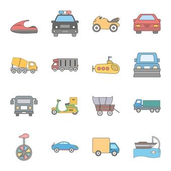 Icon set von transport