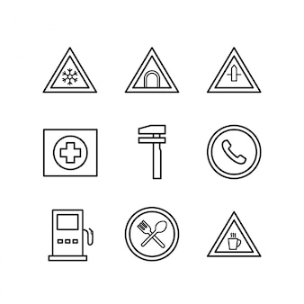 Icon set von verkehrszeichen für den persönlichen und kommerziellen gebrauch