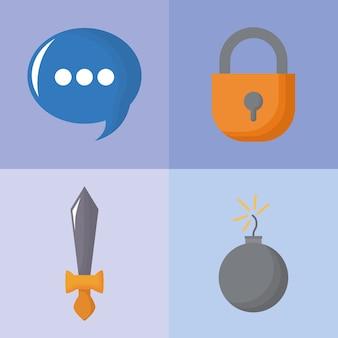 Icon-set von videospiel-konzept