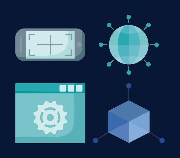 Icon-set von virtual-reality-konzept