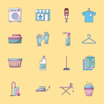Icon-set wäsche reinigung empfindlich
