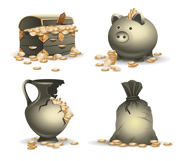 Icon-set, wenn ein alter geldsack ein großer haufen gold und eine truhe in einem kaputten vase-sparschwein