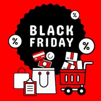 Icon-stil. black friday banner promotion