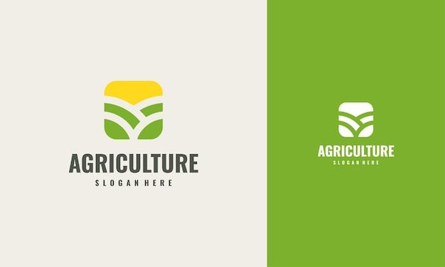 Iconic landwirtschaft logo creative concept design template, grünes blatt logo symbol vektor-design. landschaftsdesign, garten, pflanze, natur und ökologie-vektorlogo