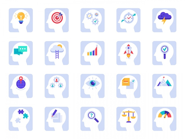 Icons des denkprozesses des gehirns. geschäftsidee, erfolgslösung im geschäftsmannkopf und im menschlichen gehirnpsychologie-ikonensatz