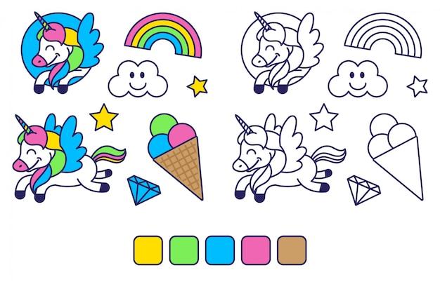 Icons elemente in aufkleber stil färbung für kinder bildung und inspiration mit happy fantasy einhorn bunte regenbogen süße eis gesetzt. flaches design der modernen karikaturfigurillustration.