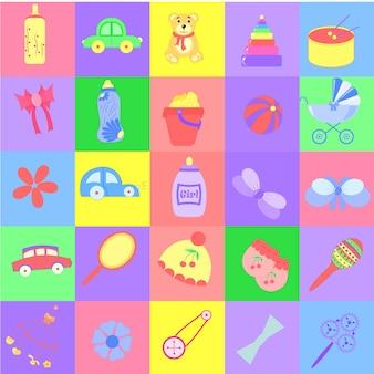 Icons farbiges baby auf buntem hintergrund. süße illustrationen.