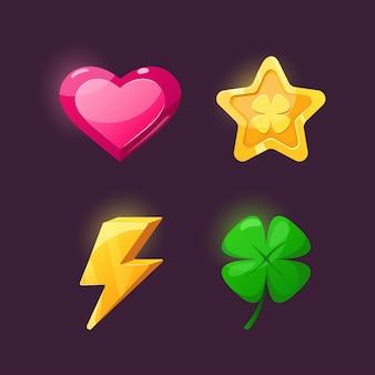 Icons für game design star, blitz, herz, klee.
