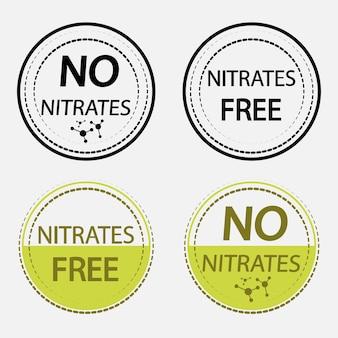 Icons nitrate kostenlos. stempel. set organischer, natürlicher zeichen für verschiedene produkte oder lebensmittel ohne nitrate. sammlung zertifizierter briefmarken in schwarzer und grüner farbe isoliert auf weißem telefon