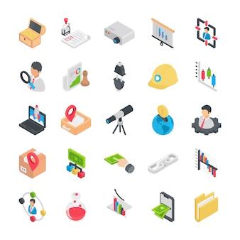 Icons pack mit flachen geschäftselementen