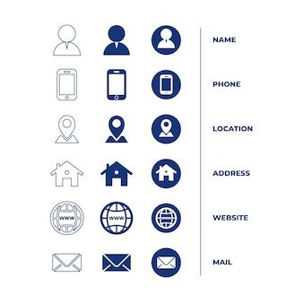 Icons sammlung für visitenkarte
