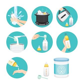 Icons satz von schritten zum vorbereiten der babyflasche