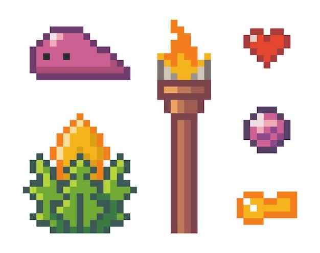 Icons set aus diamant, fackel, herz, schlüssel, pflanze, alien. illustration der pixelkunst lokalisiert auf weiß. objektsymbole zur verwendung in einem computerspiel, websites. minimalistisches pixelgrafikobjektdesign