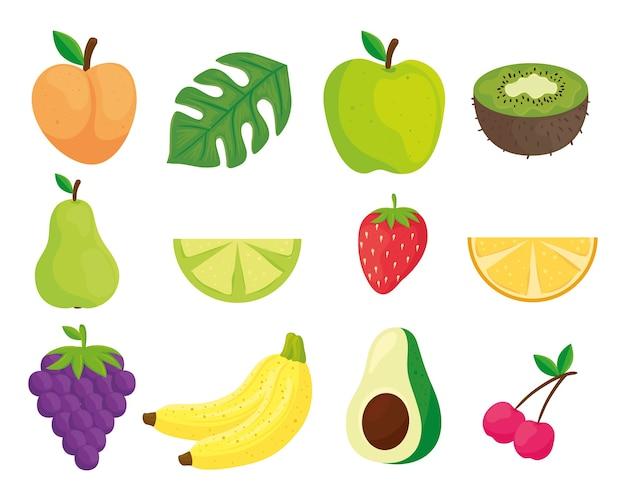 Icons set aus frischem und gesundem obst und gemüse
