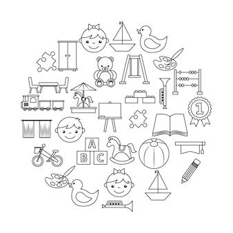 Icons set kindergarten