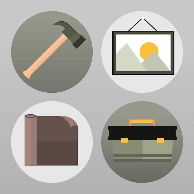 Icons set werkzeuge renovierung