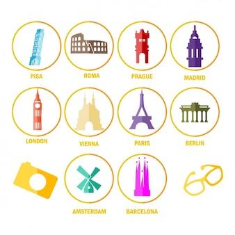 Icons über denkmäler aus der ganzen welt