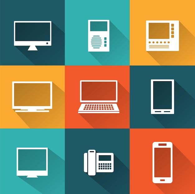 Icons von computer und informatik als business-präsentation