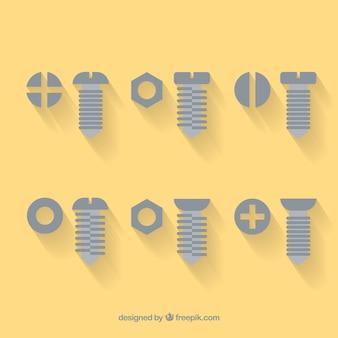 Icons von schrauben und muttern
