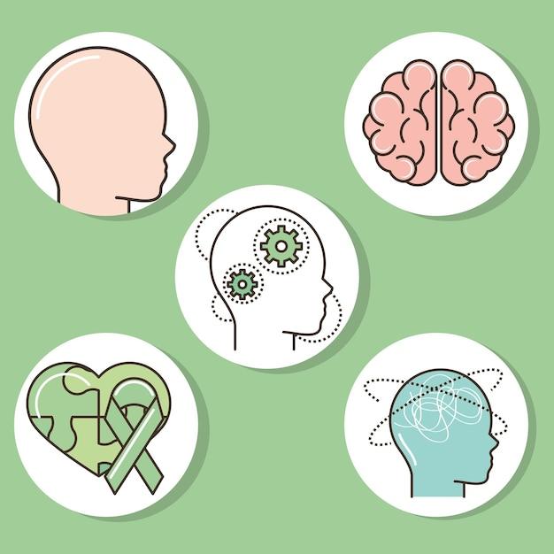 Icons welt psychische gesundheit