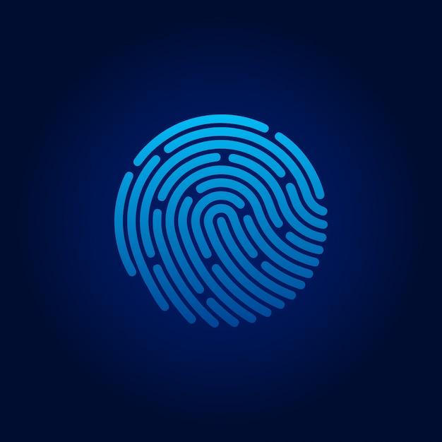 Id-app-symbol. fingerabdruck. konzept des schutzes personenbezogener daten. vektor-illustration auf lager