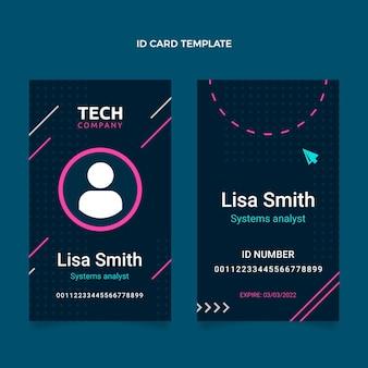 Id-karte im flachen design mit minimaler technologie