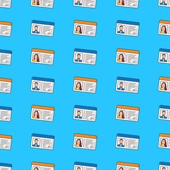 Id-karte nahtloses muster auf einem blauen hintergrund. persönliche identität thema vektor-illustration