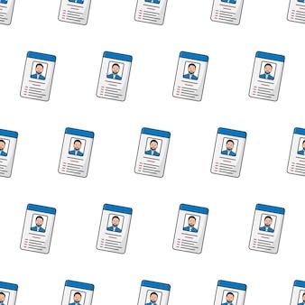 Id-karte nahtloses muster auf einem weißen hintergrund. männliche persönliche identität thema vektor-illustration