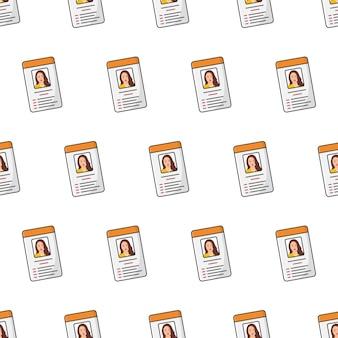 Id-karte nahtloses muster auf einem weißen hintergrund. weibliche persönliche identität thema vektor-illustration