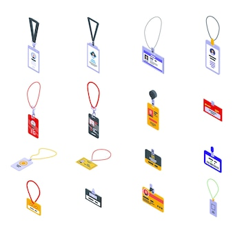 Id-kartensatz. isometrischer satz von id-karte für webdesign lokalisiert auf weißem hintergrund