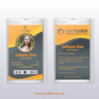 ID-Kartenvorlage mit flachem Design