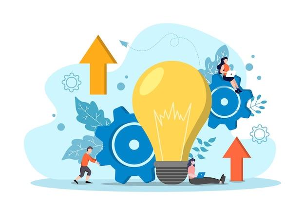 Idea business startup flat.