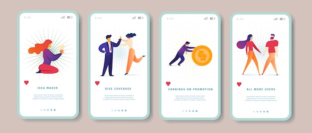Idea maker, rise coverage, promotion-einnahmen, onboard-bildschirmsatz für die mobile app-seite aller weiteren nutzer für die website.