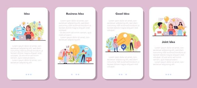 Idea mobile application banner set