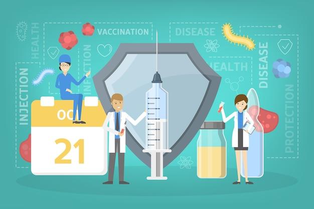 Idee der impfstoffinjektion zum schutz vor krankheiten