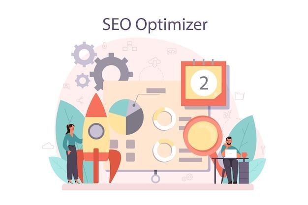 Idee der suchmaschinenoptimierung für website als marketingstrategie