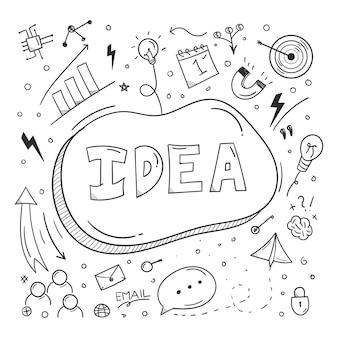 Idee doodle elemente geschäftsplankonzept