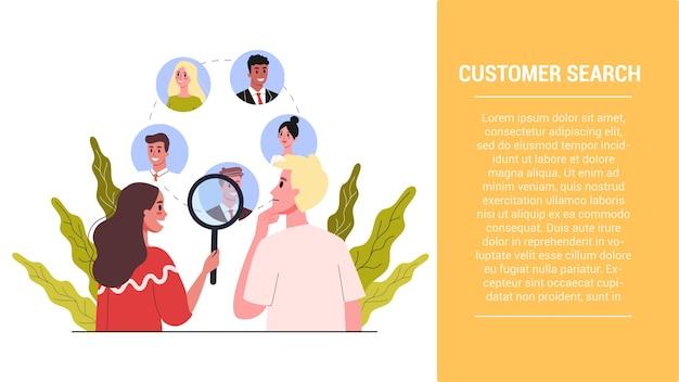 Idee für startschritte. kundenphase suchen. kundenbindungsstrategie. aufbau einer geschäftsstrategie. illustration