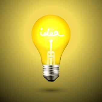 Idee glühbirne lampe vektor-illustration auf schwarz