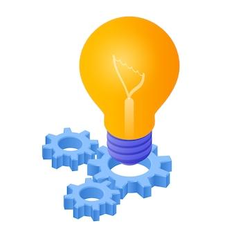 Idee isometrisches symbol. glühbirne mit zahnrädern. lampenbirnen-symbol.
