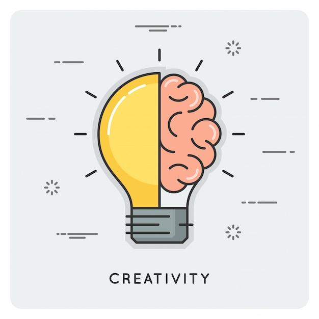 Idee und kreativität. dünne linie .