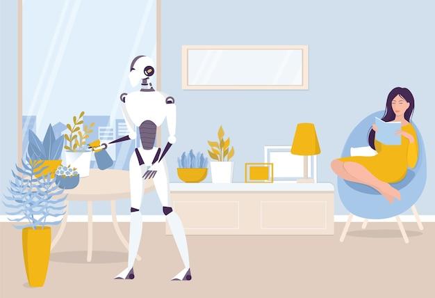 Idee zur haushaltsautomatisierung. roboter bewässerung zimmerpflanzen. frau, die ein buch liest. ki hilft menschen in ihrem leben, ihrer zukünftigen technologie und ihrem lifestyle-konzept. illustration