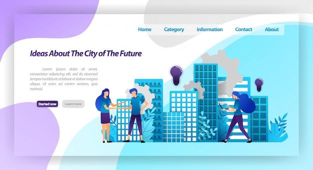 Ideen für eine bessere stadt in der zukunft, intelligente stadtmechanismen und zusammenarbeit mit zitternden händen. zielseiten-webvorlage