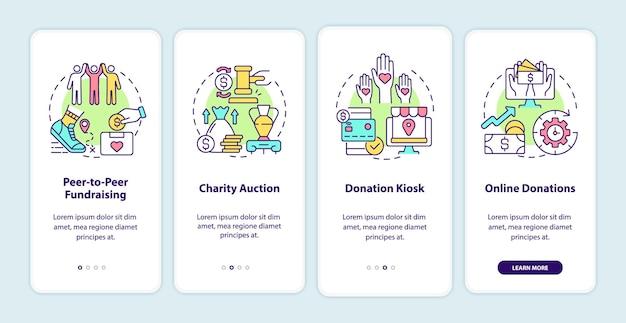 Ideen für fundraising-events beim onboarding der seite der mobilen app. walkthrough für wohltätigkeitsauktionen in 4 schritten mit grafischen anweisungen und konzepten. ui-, ux-, gui-vektorvorlage mit linearen farbillustrationen