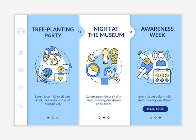 Ideen für fundraising-kampagnen beim onboarding von vektorvorlagen. responsive mobile website mit symbolen. webseiten-walkthrough-bildschirme in 3 schritten. farbkonzept der baumpflanzparty mit linearen illustrationen